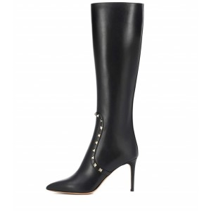 Black Pointy Toe Studs Stiletto Heel Knee High Boots