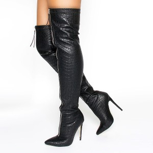 Black Zip Textured Vegan Leather Pointy Toe Thigh High Heel Boots