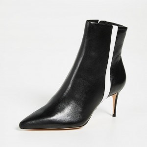 Black Pointy Toe White Stripe Stiletto Heel Ankle booties