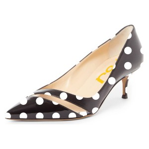 Black Polka Dots Polka Dots Hollow Out Kitten Heels Pumps
