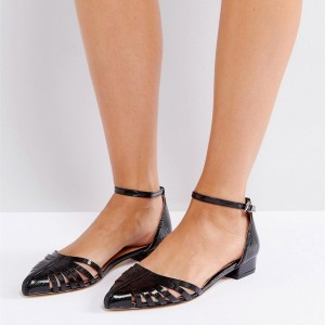 Black Python Ankle Strap Sandals Pointy Toe Hollow out Chunky Heels