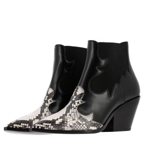 Black Snakeskin Slip on Boots Pointy Toe Chunky Heel Ankle Boots