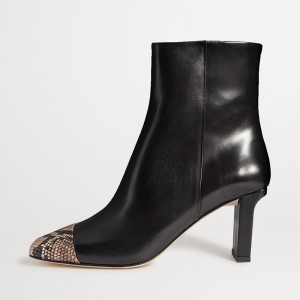 Black Python Chunky Heel Boots Ankle Boots with Square Toe
