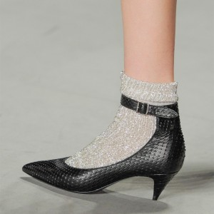 Black Python Pointy Toe Cone Heel Ankle Strap Heels for Women