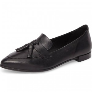 Black Python Pointy Toe Loafers for Women