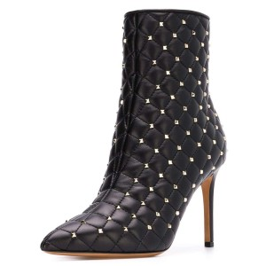 Black Quilted Ankle Booties Studs Shoes Pointy Toe Stiletto Boots
