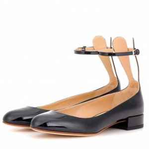 Black Rabbit Ears Chunky Heels Cute Ankle Strap Pumps