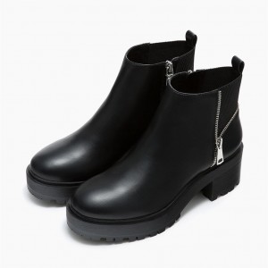 Black Retro Casual Boots Leather Ankle Boots Comfortable Shoes by FSJ