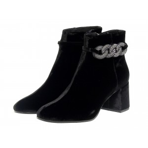 Black Rhinestone Block Heel Ankle Booties