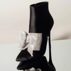 Black Rhinestone Bow Stiletto Boots Pointy Toe Satin Ankle Booties