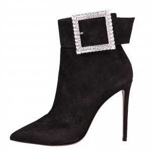 Black Suede Rhinestone Buckle Stiletto Heel Ankle Booties