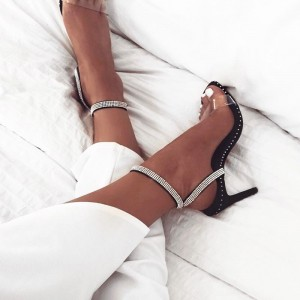 Black Rhinestone Clear Heels Open Toe Slingback Sandals with Studs