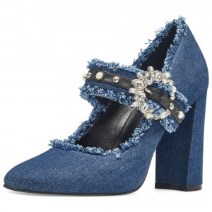 Blue Rhinestone Denim Mary Jane Shoes Round Toe Chunky Heel Pumps