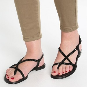 Black Rhinestone Flats Open Toe Summer Sandals