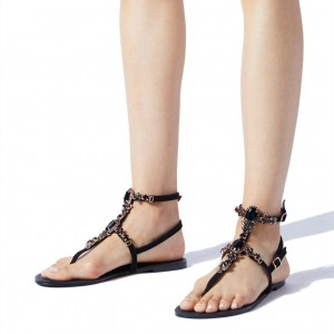 Black Rhinestone Flip-Flops Comfortable Flats Beach Sandals