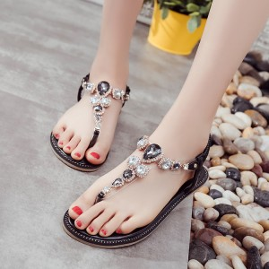Black Rhinestone T Strap Wedding Sandals