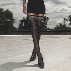 Black Rhinestones Thigh High Heel Boots
