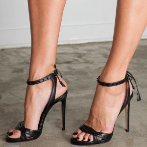 Black Rivets Back Lace up Slingback Heels Stilettos Office Sandals