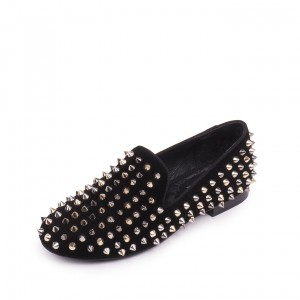 Black Rivets Flat Loafers for Women
