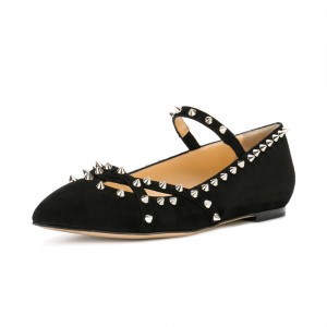 Black Rivets Mary Jane Shoes Pointy Toe Flats School Shoes
