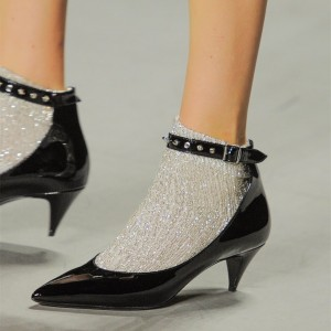 Black Rivets Pointy Toe Cone Heel Ankle Strap Heels for Women