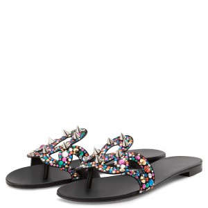 Black Rivets Rhinestone Women's Slide Sandals