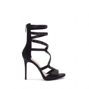 Black Rivets Strappy Sandals Stiletto Heel Sexy Shoes for Women