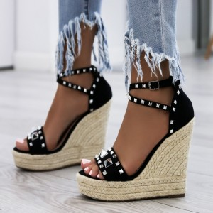 Black Rivets Wedge Sandals Open Toe Platform Sandals for Women