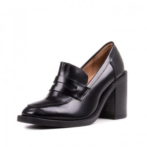 Black Round Toe Block Heel Loafers for Women Office Shoes