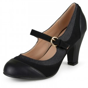 Black Round Toe Chunky Heels Mary Jane Pumps School Shoes