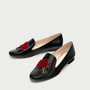 Black Round Toe Flats Embroidery Square Toe Loafers for Women