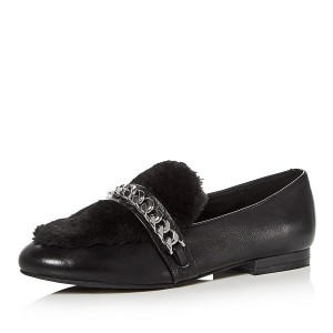 Black Round Toe Fur Flats Loafers for Women Office Shoes with Chain