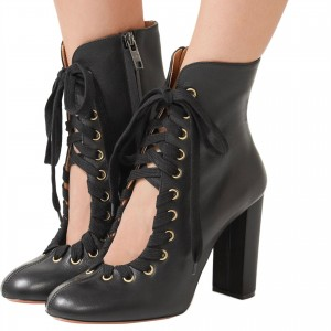 Black Round Toe Lace up Boots Chunky Heel Ankle Boots