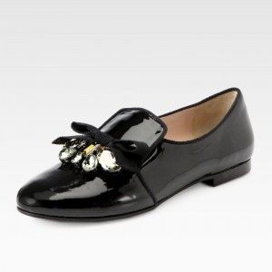 Black Round Toe Patent Leather Crystal Bow Loafers for Women