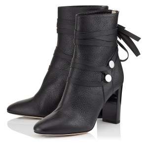 Black Strappy Heels Ankle Boots Pointy Toe Chunky Heels Leather Boots