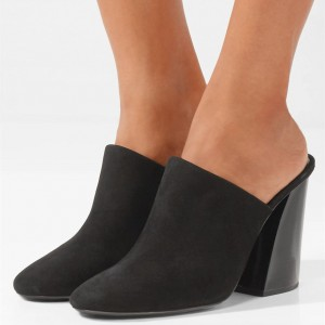 Black Round Toe Suede Chunky Heels Mule for Women