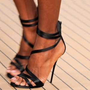 Black Satin Stiletto Heels Sandals for Women