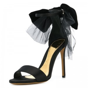Black Satin Bow Mesh Stiletto Heel Ankle Strap Sandals