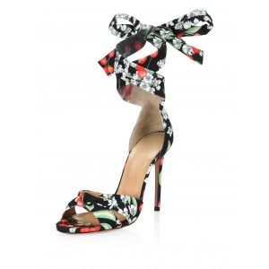 Black Satin Floral Heels Tie Stiletto Heel Sandals