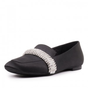 Black Satin Loafers for Women Round Toe Flats with Rhinestone