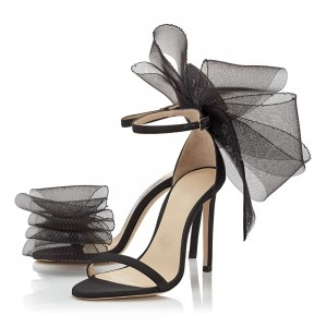 Black Satin Mesh Bow Stiletto Heel Ankle Strap Sandals