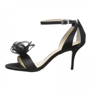 Black Satin Open Toe Flower Stiletto Heel Ankle Strap Sandals