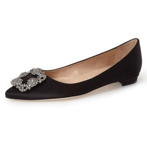 Black Satin Rhinestone Comfortable Flats