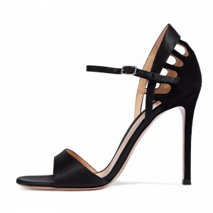 Black Satin Stiletto Heels Open Toe Sandals for Office Lady
