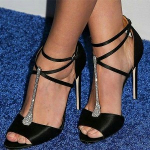 Black Satin Stiletto Heels T Strap Sandals Rhinestone Evening Shoes