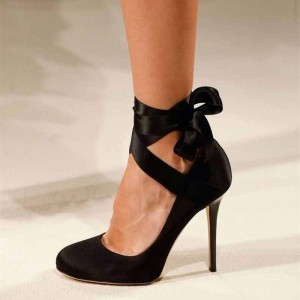 Black Satin Strappy Heels Round Toe Pumps
