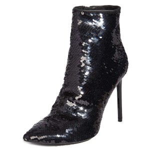 Black Sequined Boots Stiletto Heel Ankle Boots
