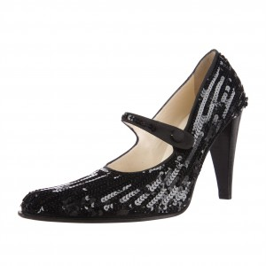 Black Sequined Mary Jane Shoes Round Toe Cone Heels Pumps