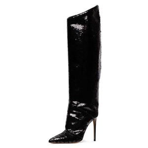 Black Sequin Boots Pointy Toe Stiletto Heel Evening Knee High Boots