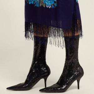 Black Sequined Stiletto Heel Fashion Boots Ankle Boots